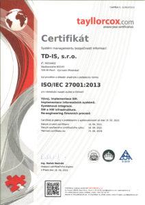 certifikát ISO 27001 TD-IS